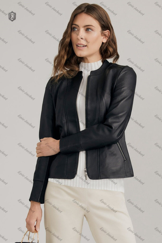 Epic made Collarless Leather Jacket