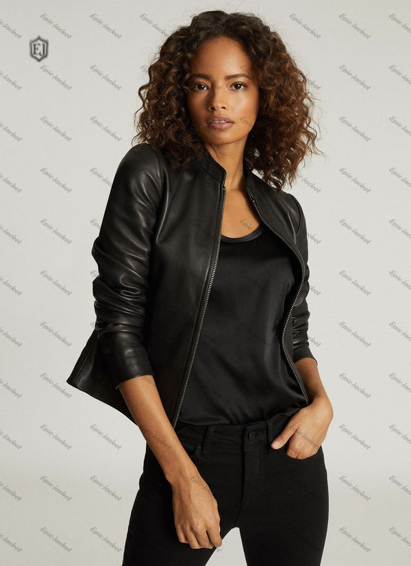 Epic Black Biker Collarless Leather Jacket