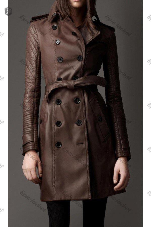 Epic made Brown Leather Trench Coat