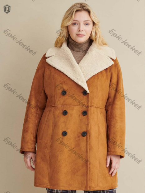Double Breasted Epic Faux Shearling women Coat