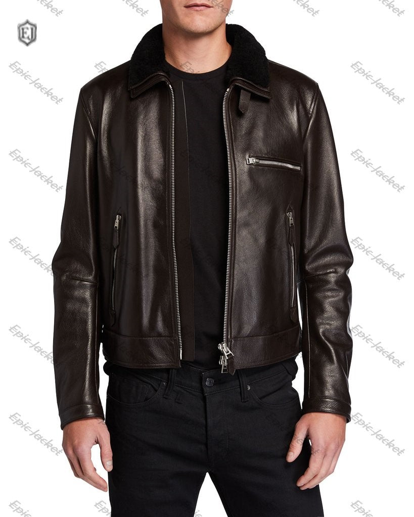 Epic Men's Shearling Trim Leather Jacket