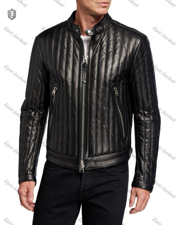 Epic Vertical Channel Leather Racer Jacket