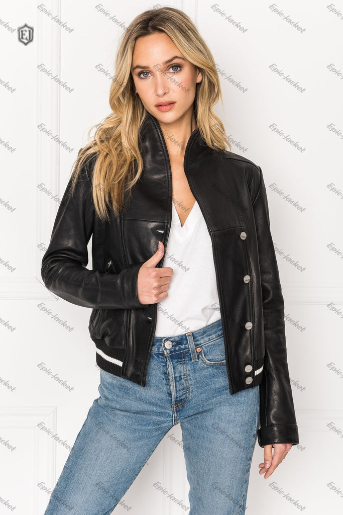 Epic Black Funnel Neck Women Leather Jacket
