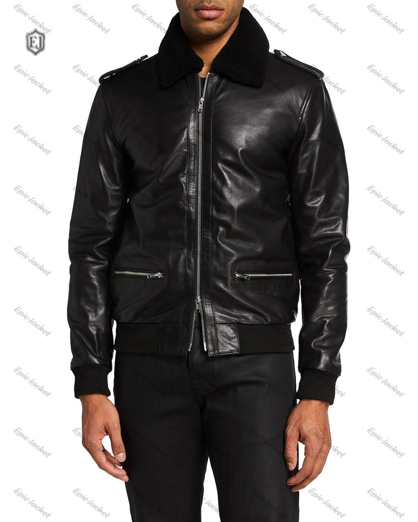 Epic Men's Leather Biker Jacket wIith Fur Collar