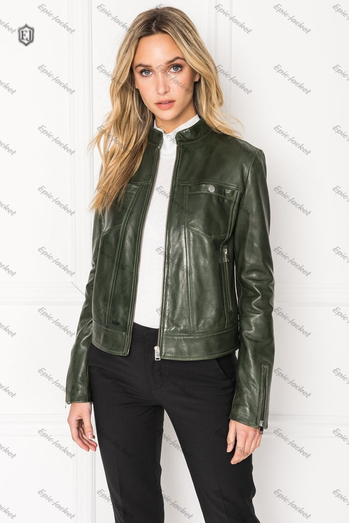 Epic Forest Women Leather Jacket