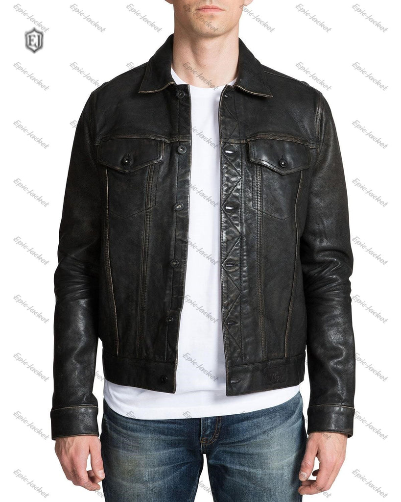 Epic Men's Leather Jacket with Painted Graphic
