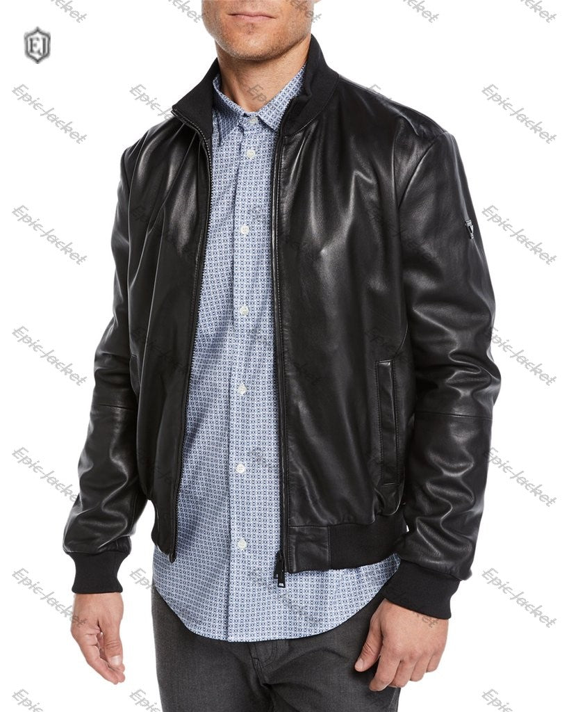 Epic Men's Leather Bomber Jacket