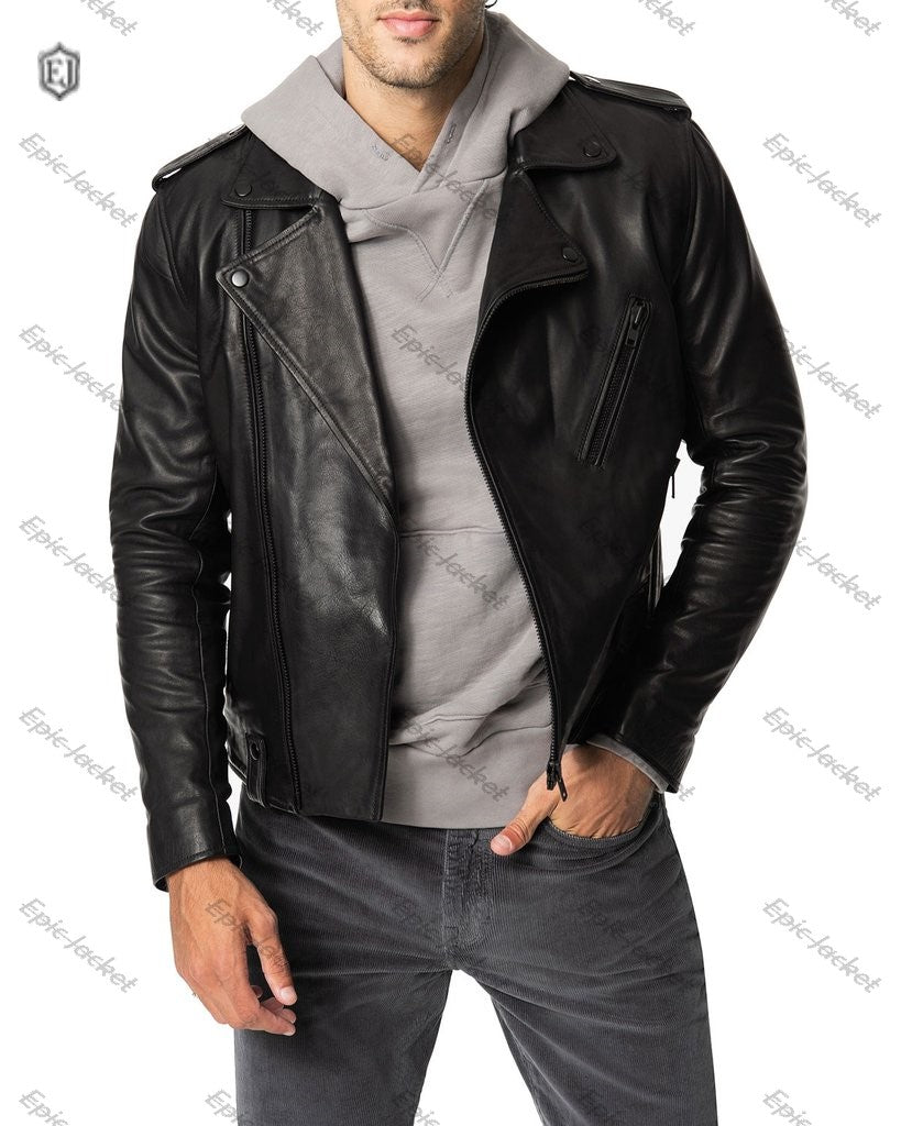 Epic Jeans Men's Slim-Fit Leather Moto Jacket