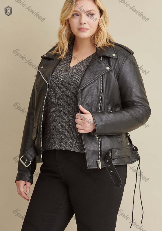 Epic Rider Women Leather Jacket With Side Lacing
