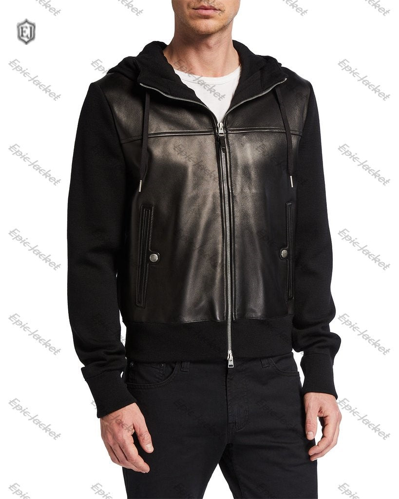 Epic Men's Wool Leather Hooded Jacket
