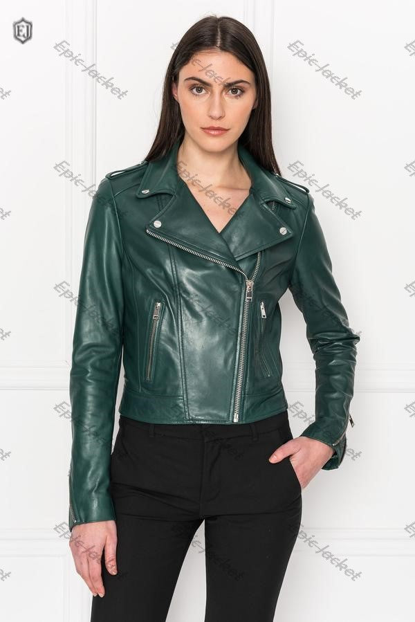 Epic Bistro Green Leather Biker Jacket