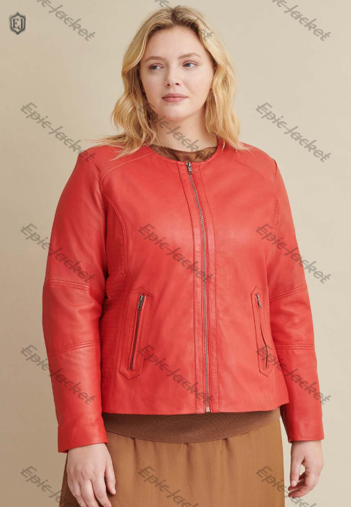Epic Red Women Leather Jacket With Side Stitching