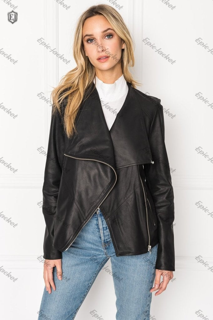 Epic Black Cascade Collar Leather Jacket