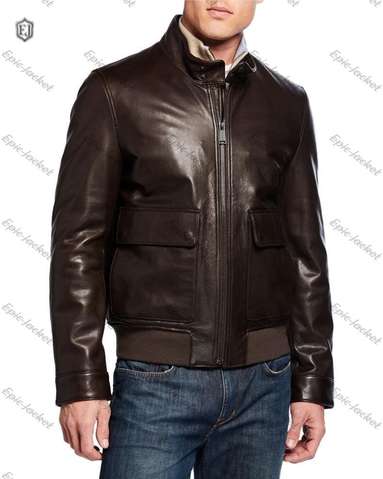 Epic Men's Leather Zip-Front Jacket