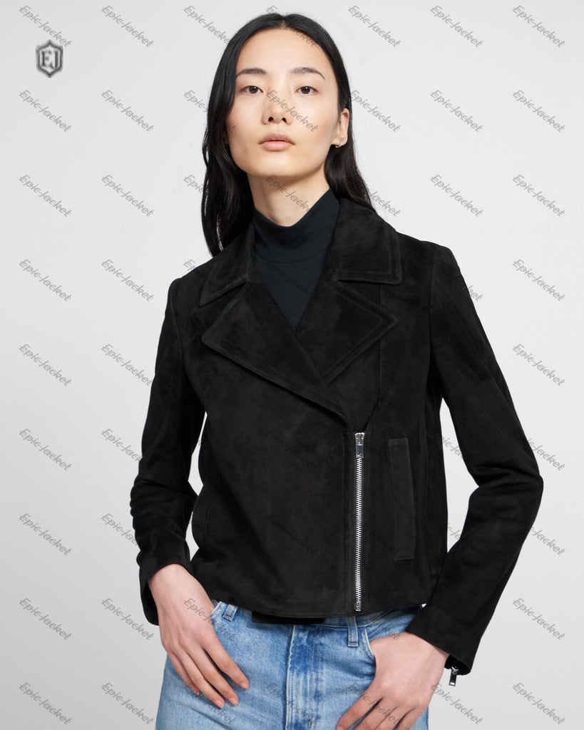 Epic Slim Moto In Suede Women Leather Jacket