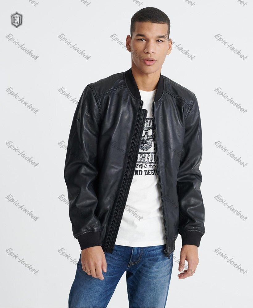 Epic Light Leather Bomber Men Jacket