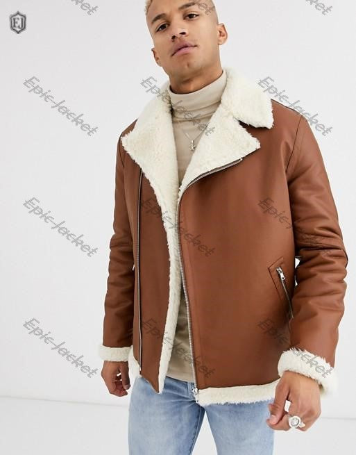 Epic biker jacket tan faux leather