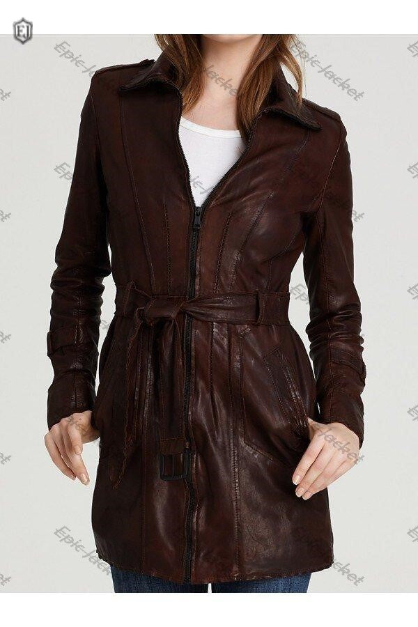 Epic made Brown Leather Belted Coat