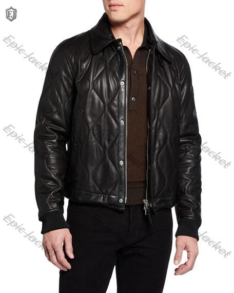 Epic  Men's Leather Jacket Shearling Collar