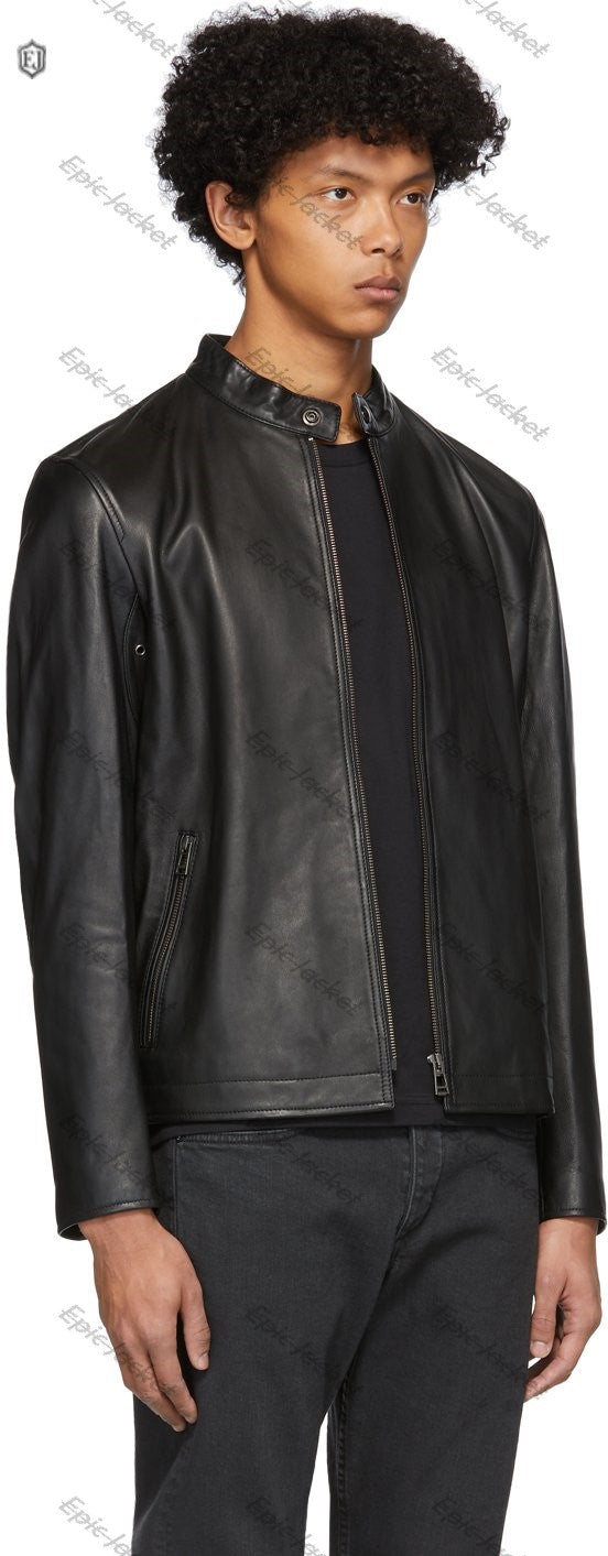 Epic Mens Black Leather Reeve Jacket