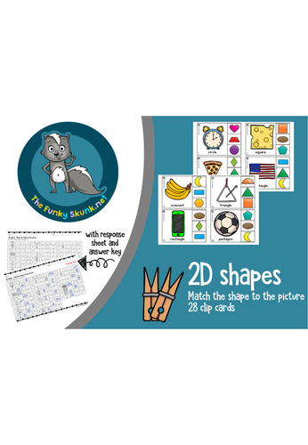 Math - 2D Shape Clip Cards - Match the shape