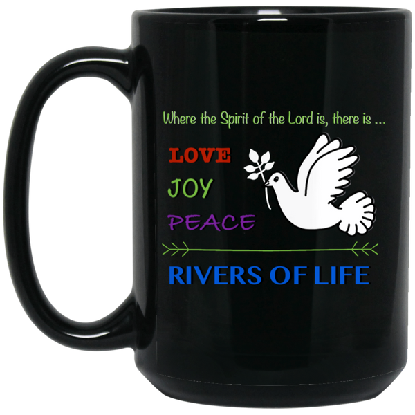 Love, Joy, Peace - 15 oz. Black Mug