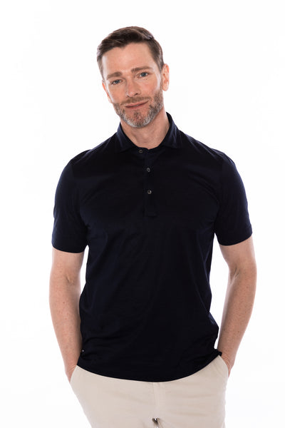 Polo Short Sleeve Extra Fine Navy