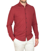 Ice Cotton Wrinkle Free & Stretch Longsleeve Shirt Rood