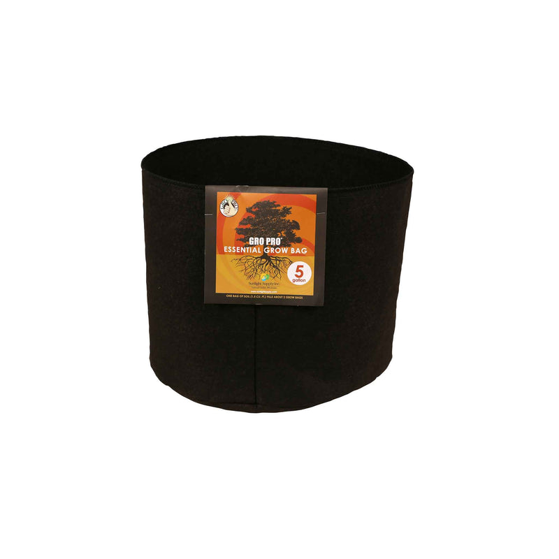 Gro Pro Essential Round Fabric Pots - Black
