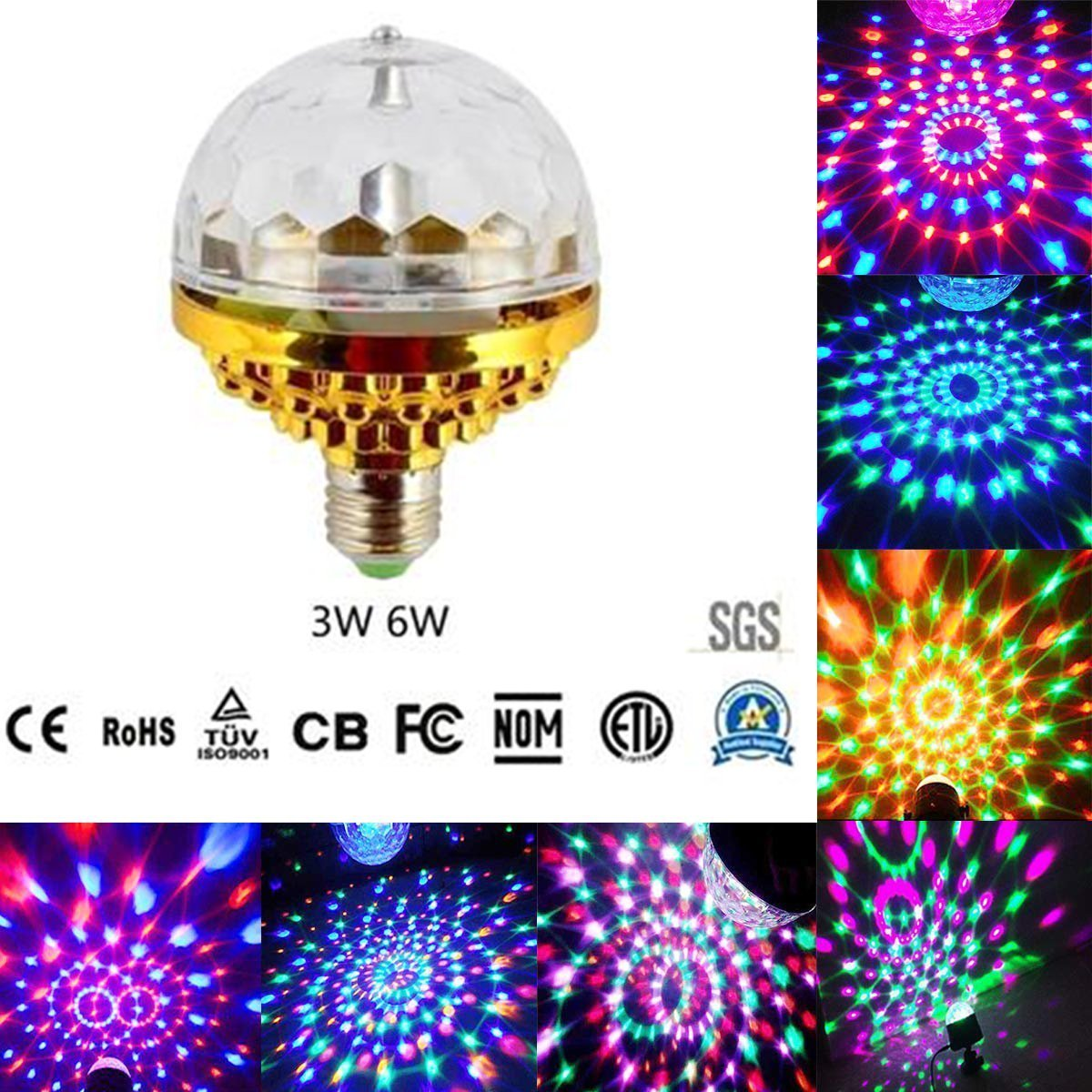 Disco Ball Lamp RGB Rotating LED Party Bulb