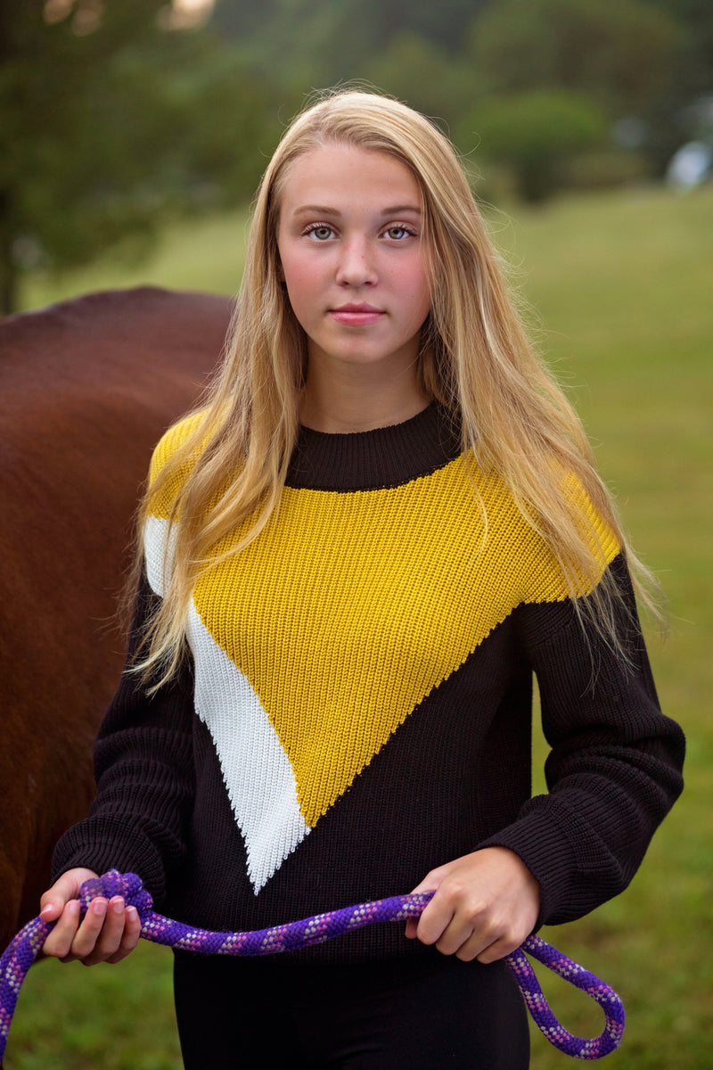 Knit Ribbed top for teens in black/mustard/ivory