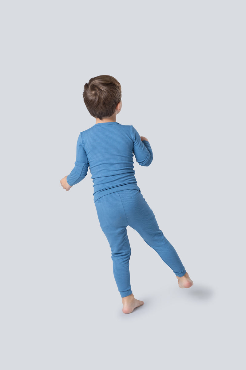 Snug fitting ribbed pajamas in dusty blue