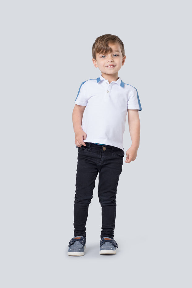 White boy's polo shirt with chambray accent 1