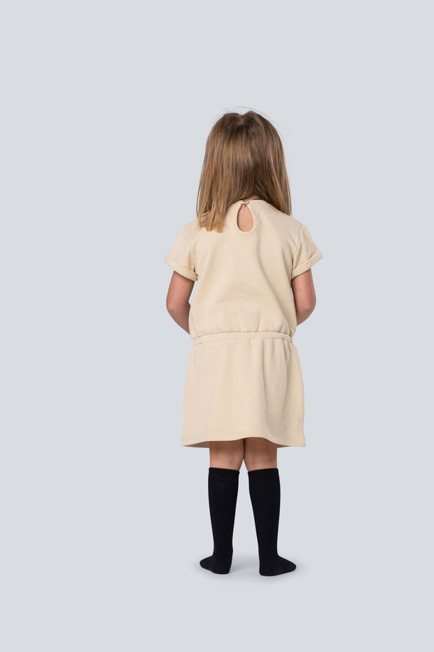 Easy care sweat dress in sand 1