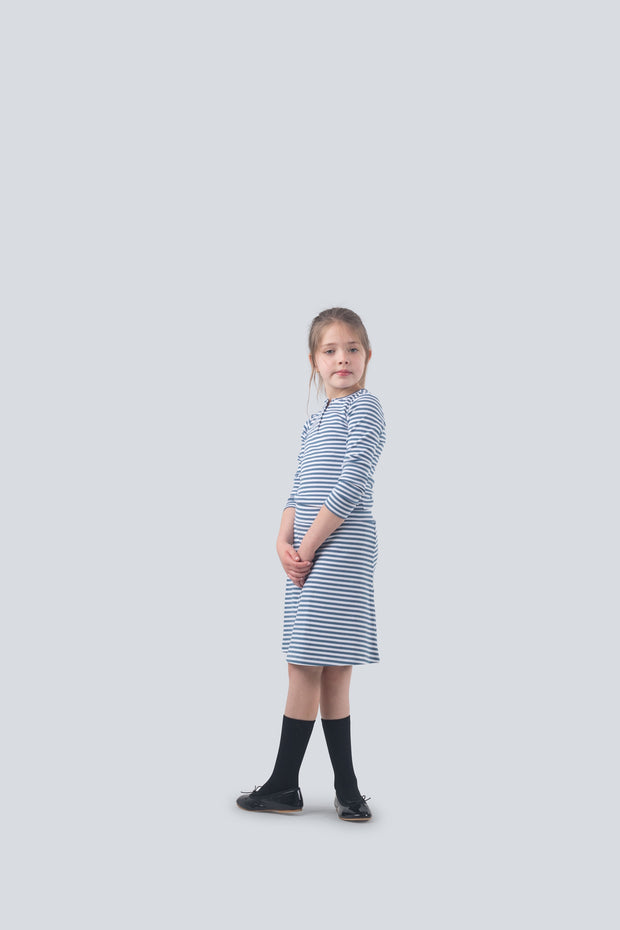 Ribbed t-shirt in chambray striped 1