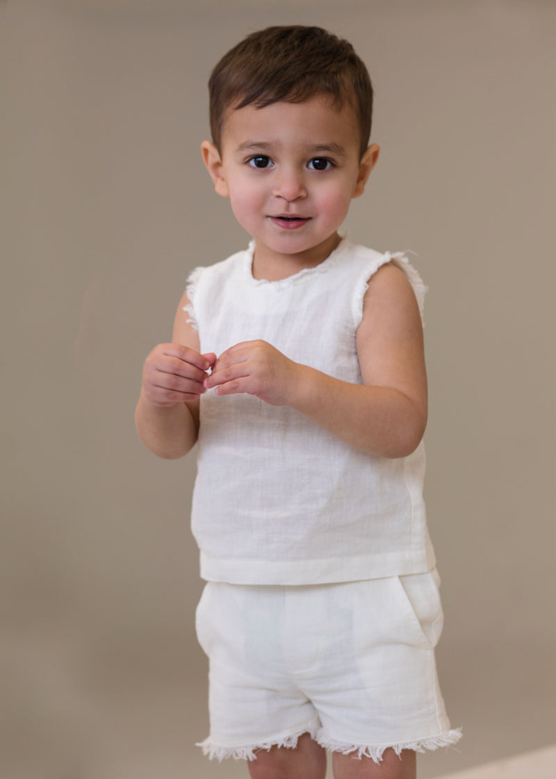 Linen baby two piece in cream