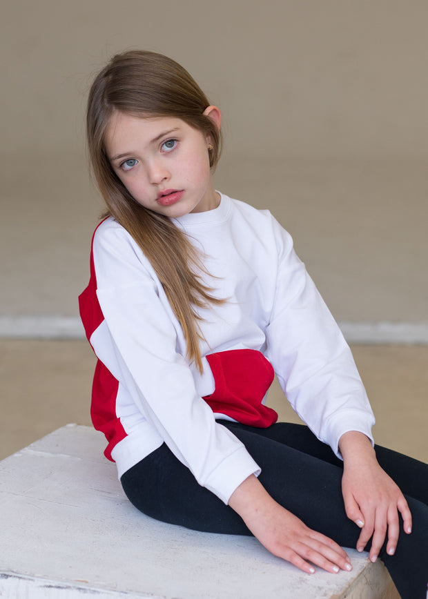 Oversized top in white and red 1