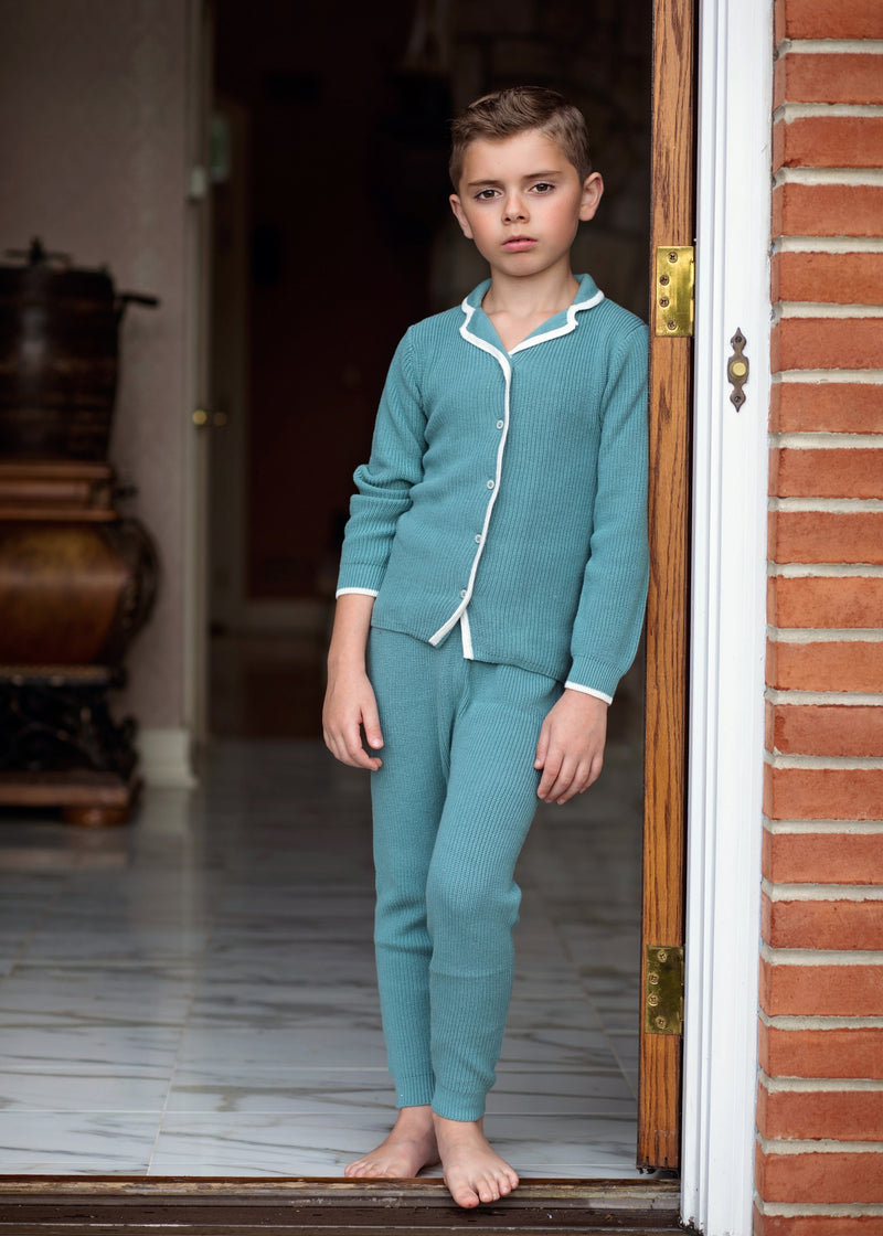 Knit Ribbed Grandfather Pajamas in Sage