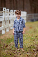 Load image into Gallery viewer, Navy Gingham Pajamas