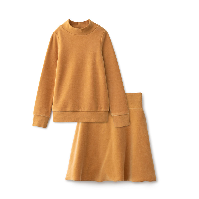 Velour Girls Two Piece in Caramel