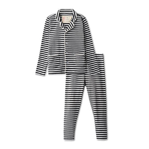Ribbed grandfather  pajamas in black striped