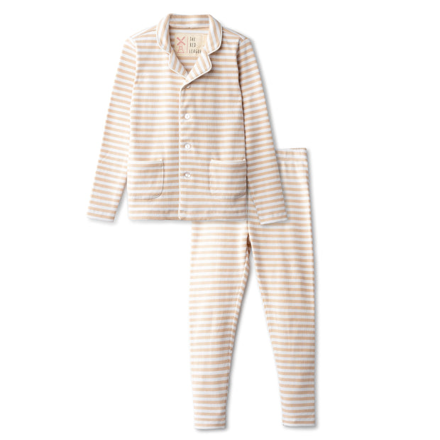 Ribbed grandfather  pajamas in sand striped 1