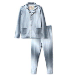 Ribbed grandfather  pajamas in chambray striped