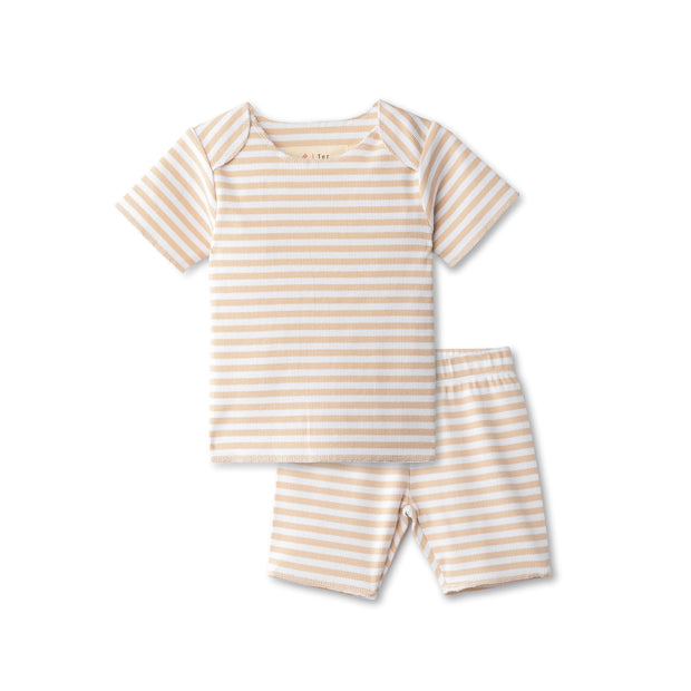 Ribbed baby two piece  in sand striped 1
