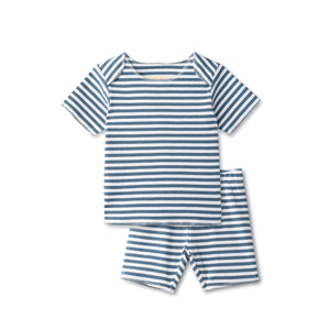 Ribbed baby two piece  in chambray striped