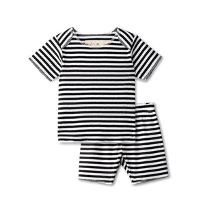 Ribbed baby two piece  in black striped