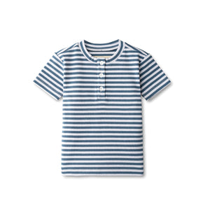 Ribbed boys t-shirt in chambray striped