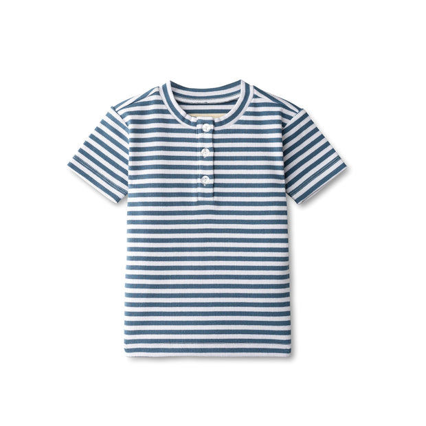 Ribbed boys t-shirt in chambray striped 1