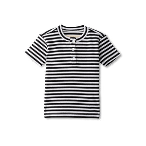 Ribbed boys t-shirt in black striped