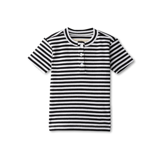 Ribbed boys t-shirt in black striped 1